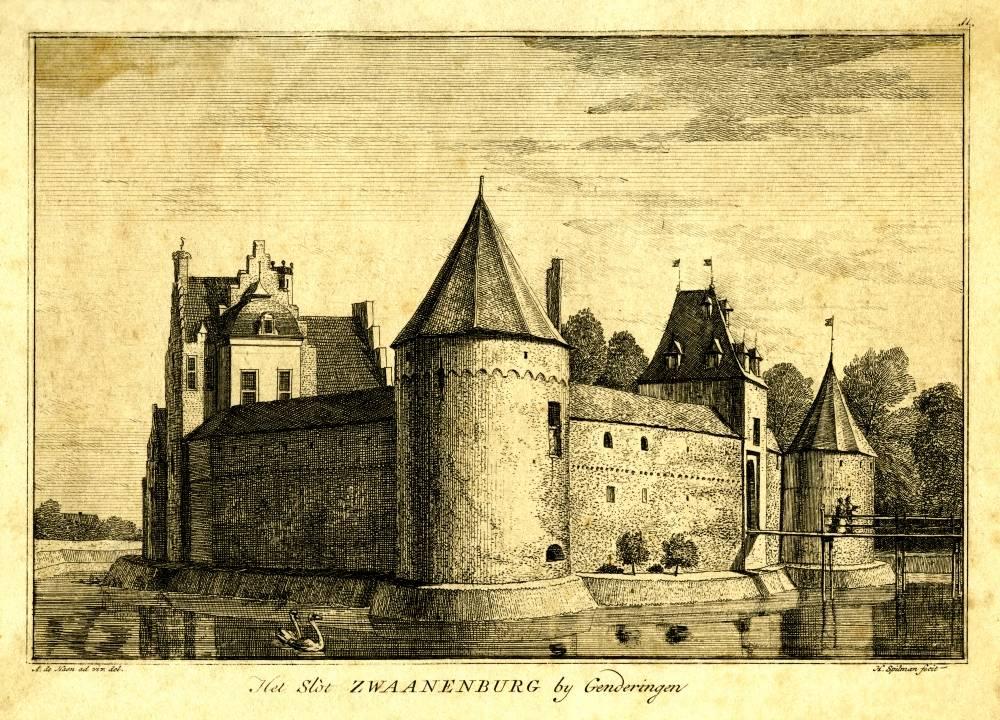 Kasteel Zwanenburg in Gendringen. Tekening Abraham de Haen, gravure Hendrik Spilman